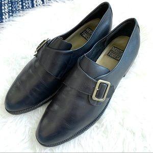 Mootsie Tootsie leather buckle loafer flats black